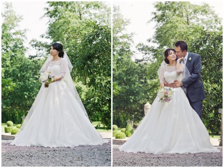 bride at Eaves Hall wedding wearing Caroline Castigliano