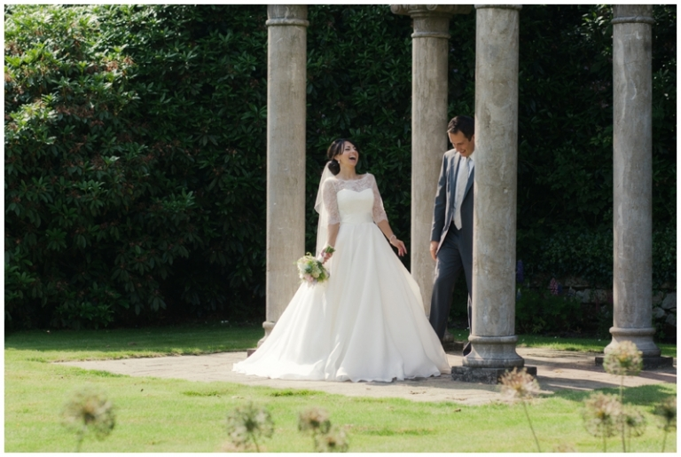 bride and groom at Eaves Hall wedding