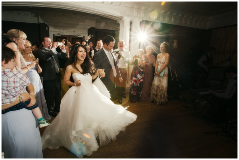 bride and groom first dance at Eaves Hall wedding
