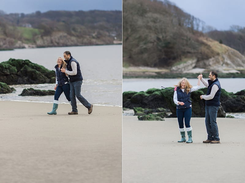 engagement photographs on the beach Silverdale