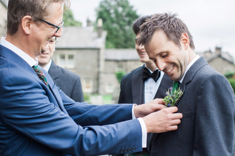 Grooms buttonhole Kirkby Lonsdale wedding photographer