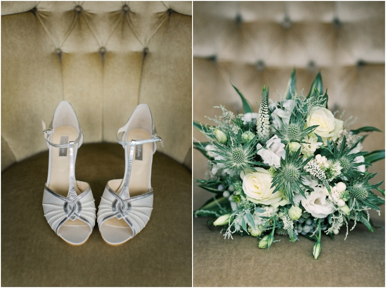 bride shoes bouquet marquee wedding photography