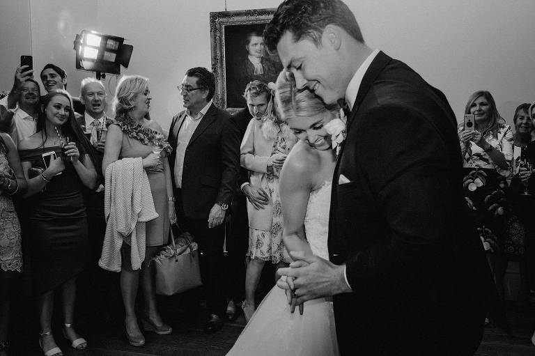 bride and grooms first dance at Holme Pierrepont Hall